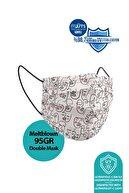Medizer One Line Art Desenli Meltblown Ultrasonik 3 Katlı Cerrahi Maske 10'lu 1 Kutu - Burun Telli
