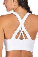 LOS OJOS Beyaz Hafif Destekli Sırt Detaylı Kaplı Spor Sütyeni Crisscross