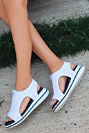 otuzbesshoes Kadın Gözde Likralı Triko Sandalet Beyaz