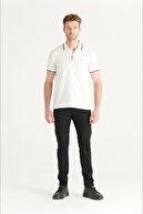 Avva Erkek Beyaz Polo Yaka Jakarlı T-shirt A11y1170