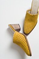 luvishoes Kadın Sarı Suet Topuklu Terlik 215