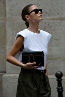 Madmext Mad Girls Vatkalı Beyaz Kadın Tişört MG228