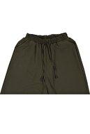 eklesepete Kadın Haki Palazzo Tiril Kumaş Beli Lastikli Geniş Paça Kemerli Yazlık Pantolon