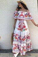 4Sisters Fashion Madonna Yaka Çiçekli Renkli Maxi Elbise