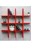 Webotto Dekoratif Çoklu Duvar Rafı Kitaplık Kırmızı 08004