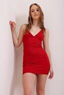 Trend Alaçatı Stili Kadın Kırmızı İp Askılı Sırt Dekolteli Mini Elbise ALC-X6663