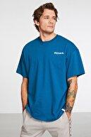 GRIMELANGE Hashtag Erkek Petrol Oversize Bisiklet Yaka Baskılı Geniş Kesim T-shirt