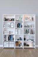 Kzy Mobilya Mobilya 5 Raflı Geniş Kitaplık - Beyaz