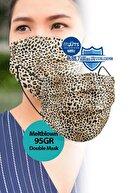 Medizer 1 Kutu Leopar Desenli Meltblown Ultrasonik 3 Katlı Cerrahi Maske - Burun Telli 10'lu