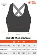 LOS OJOS Siyah Hafif Destekli Sırt Detaylı Kaplı Spor Sütyeni Crisscross