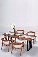 PlusAksesuar Ahşap Masif Özel Tasarım Ceviz Renk Yemek Masası Mutfak Masası 80x170x75