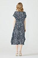 Sementa Desenli Torba Kesim Kadın Elbise - Lacivert