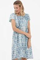 Sementa Kadın Mavi Geniş Kalıp Kare Yaka Elbise