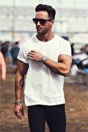 Madmext Erkek Beyaz Baskılı T-Shirt - 3006