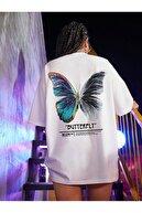 Millionaire Kadın Beyaz Butterfly Oversize T-shirt