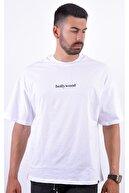 bodwox man Black Rose Sırt Baskılı Beyaz Oversize Bol Kesim Tişört