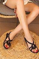 KAŞGAR Halat Desenli Kaymaz Taban Siyah Yazlık Plaj Deniz Kadın Sandalet Terlik