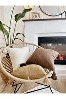 XYZ SAKSI Hestia Home Kırlent Kılıfı Yastık Kılıfı Püsküllü Keten Kahverengi 40x40 Cm