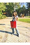 Serkan Çanta Bez Çanta Atölyesi Kırmızı Baskılı Bez Çanta Plaj Ve Alışverişe Uygun Günlük Kullanım İçindir