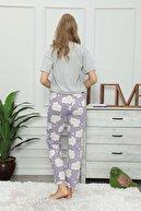 modalove Kadın Mor Desenli Mevsimlik Tek Pijama Altı