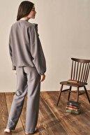 Feyza Pijama Feyza Göğüs Kısmı Özel Tasarım Bayan Eşofman Takımı 3941 Gri