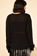 Bianco Lucci Kadın Siyah 4 Düğmeli Selanik Örgü Triko Hırka 20011018