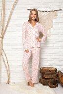 ELİTOL Kadın Pembe Desenli Pamuklu Düğmeli Pijama Takim