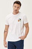 Altınyıldız Classics Erkek Beyaz Slim Fit Bisiklet Yaka %100 Koton Tişört
