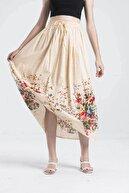 Luisido Krem Çiçek Desenli Astarlı Uzun Etek