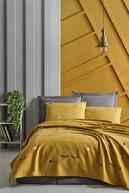 Enlora Home Enlora %100 Doğal Pamuk Pike Örtü Mega King Baskılı 260x230cm Dide Sarı