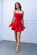 MOZ Kadın Kırmızı İp Askılı Eteği Volanlı Prenses Elbise Etk 6446