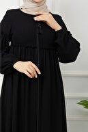 Arzu Giyim Kolu Patlı Altı Pileli Siyah Ferace