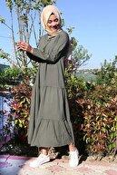Bigdart Kadın Koyu Haki Yaka Bağcıklı Tesettür Elbise 1627bgd19_080