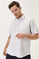 Altınyıldız Classics Erkek Beyaz-Bej Regular Fit Klasik Gömlek Yaka Kısa Kollu Yazlık Gömlek