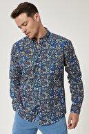 Altınyıldız Classics Erkek Mavi-sarı Tailored Slim Fit Düğmeli Yaka Baskılı %100 Koton Gömlek