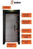 Tezdoor Çelik Kapı-siyah Kasalı Rustik Çizgili Düz Model Daire Kapısı,tırnaklı Sistem Çelik Kapı