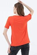 Sementa Kadın Mercan Yuvarlak Yaka Baskı Detaylı Tshirt