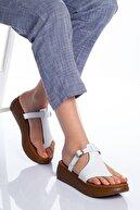 modaninfrekansı Cora Hakiki Deri Sandalet Beyaz