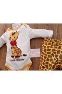 Mina Tasarım Unisex Bebek Sarı Zürafalı Zıbın Takımı 3'lü
