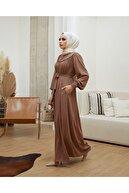 Berel Moda Kahverengi Medine Ipeği Büzgülü Mihrimah Ferace