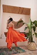Eka Kadın Orange Askılı Bağlamalı Gipeli Elbise 0924-0936
