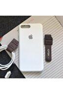 SUPPO Iphone 7 Plus  Uyumlu Logolu Lansman Kılıf Ve Kablo Toparlayıcı