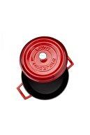 Lava Kırmızı Yuvarlak Döküm 24 Cm Tencere Damlacık Efektli Kapak