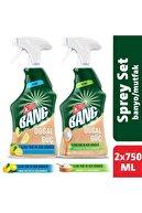 Cillit Bang Doğal Güç Limonlu %100 Banyo + Karbonatlı %100 Mutfak Temizleyici Sprey 2x750 Ml