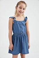 Defacto Kız Çocuk Volanlı Jean Elbise