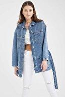 Defacto Kadın Mavi Kuşak Detaylı Relax Fit Tunik Jean Ceket