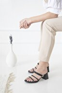 Straswans Camren Bayan Topuklu Deri Sandalet Siyah