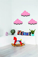 Hellove Pembe Bulut 3 Lü Set Bulut Ahşap Duvar Dekoru Çocuk Odası Süsü