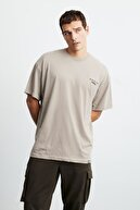 GRIMELANGE Mark Erkek Bej Baskılı Bisiklet Yaka T-shirt