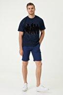 Network Erkek Slim Fit Lacivert Baskılı Bisiklet Yaka T-shirt 1079841